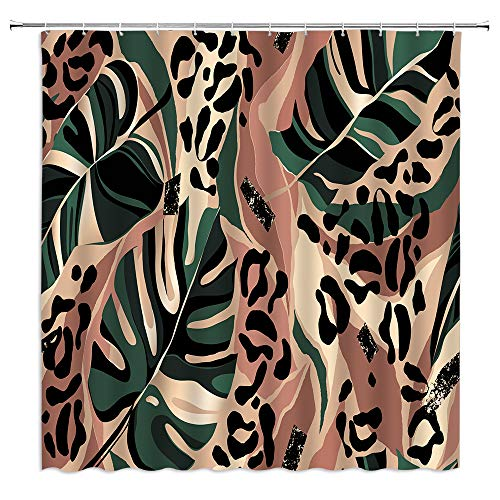 Leopard Print Shower Curtain Modern Exotic Leopard Skin Floral Leaf Abstract Wildlife Creative Safari Monstera Collage Design Fabric Bath Curtains Bathroom Polyester with Plastic Hooks 70x70Inch