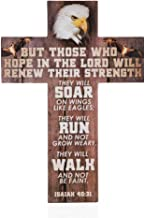 True Vine Creations, Christian Wall Decor, 13.75 inches x 9.75 inches, Wooden Cross Wall Art Décor, Isaiah 40:31 Bible Verse.