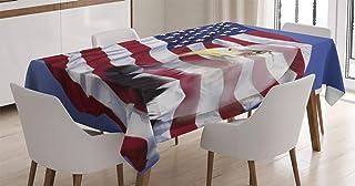 ABAKUHAUS Drapeau américain Nappe, Bless America Flag, Linge de Table Rectangulaire pour Salle à Manger Décor de Cuisine, ...