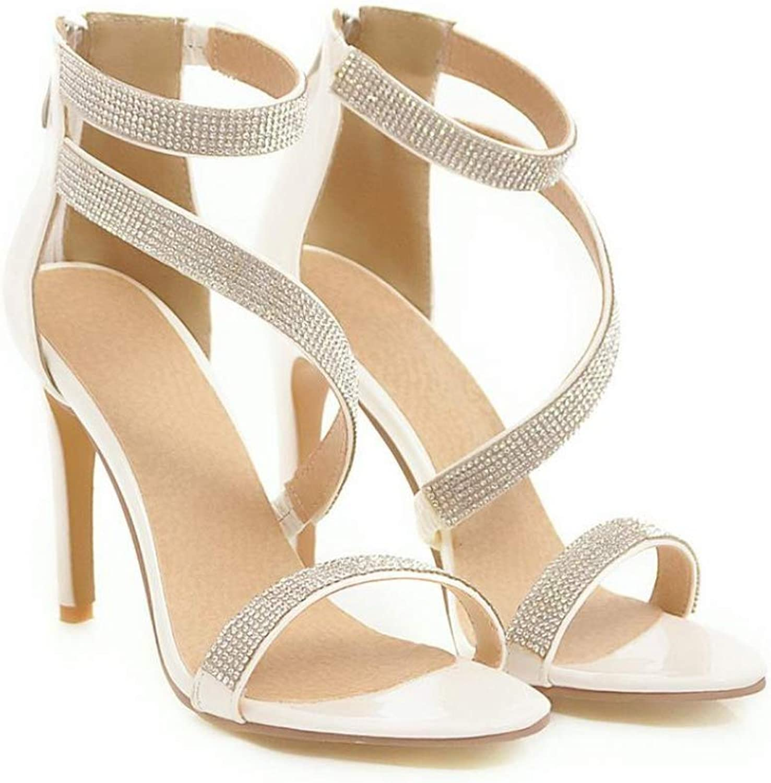 Btrada Women Thin High Heels Sandals Rhinestone Sequin Ladies Sexy Back Zipper Wedding Dress shoes