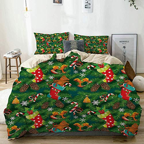 Duvet Cover Set Beige,Xmas Accessories Stockings Candies Horse Teddy Bear Toys on Pine, Decorative 3 Piece Bedding Set with 2 Pillow Shams