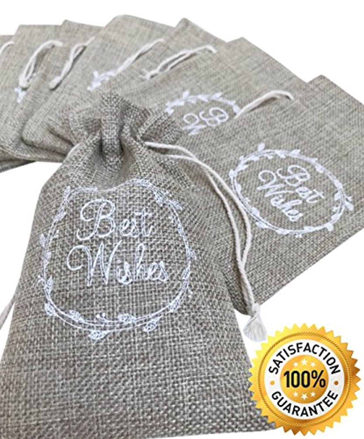 """Partyedge Wedding Party Favors   Small Burlap Bag with Drawstring 3.93"""" x 5.90""""   Baby Shower Favors Bag   Party Favor Gift Bags   Vintage Guest Gifts   Pack of 30(White)"""