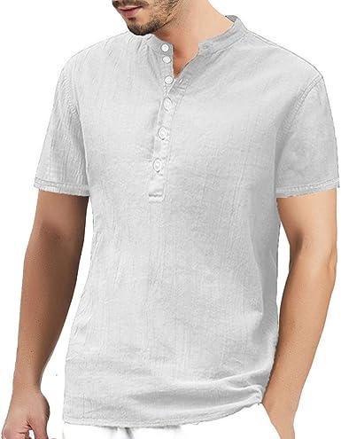 Henley - Camisas holgadas para hombre de algodón de lino sin cuello y manga larga, corta y tres cuartos