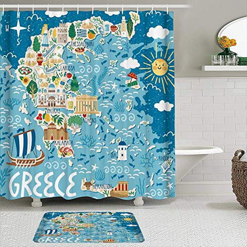 AYISTELU Juegos de Cortinas de baño con alfombras Antideslizantes, Dibujos Animados Decorativos del Mapa de la Isla Griega,con 12 Ganchos