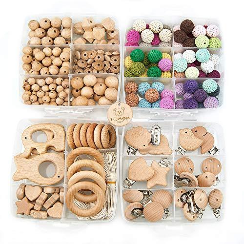 Baby ARTESTAR Kinderwagenkette Selber Basteln Kit, Schnullerkette Selber Machen Set, Diy Holzrassel Nuckelkette Holzspielzeug
