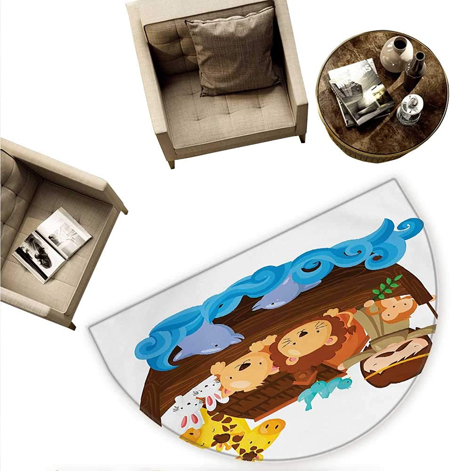 Religious Semicircular Cushion Historical Story of The Ark with All Animals Saving Nature Grace Illustration Entry Door Mat H 59  xD 88.6  Multicolor
