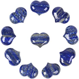 Natural Lapis Gemstone Healing Crystal 1 inch Mini Puffy Heart Pocket Stone Iron Gift Box (Pack of 10)