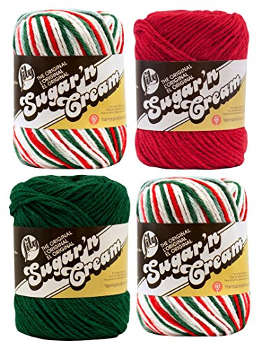 Bulk Buy: Lily Sugar 'n Cream Limited Edition 100% Cotton Yarn (Coordinated 4-Pack) (Mistletoe x 2, Dark Green, Red)