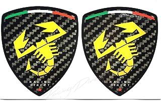 Racing DIRECT Aufkleber Fiat Abarth 2 Stück Carbon Look mit gelben Logos Zubehör Auto Deko für 500 595 Punto 124 Spider