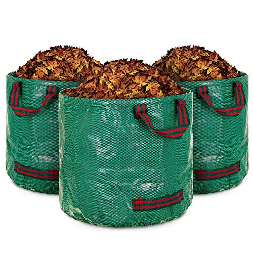 LIVIVO Set of 3 Premium Heavy Duty Reusable Garden Waste Bags with Extra Secure Handles and Strong Flexible Hoop to Increase Stability (60 Litre)
