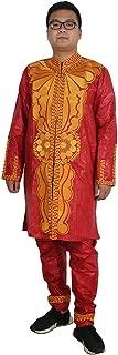 African Men Clothing Embroidery Dashiki Bazin Rich Man Long Sleeves Shirt and Pants Set