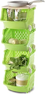 Kitchen Storage Trolley, Multi-purpose 3/4 Tier Plastic Fruit Vegetable Rack Removable Baskets, for Office Kitchen Bathroo...