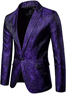 ROBO Men Blazer Suit Jacket One Button Slim Fit Casual Coat Wedding Party Tuxedo