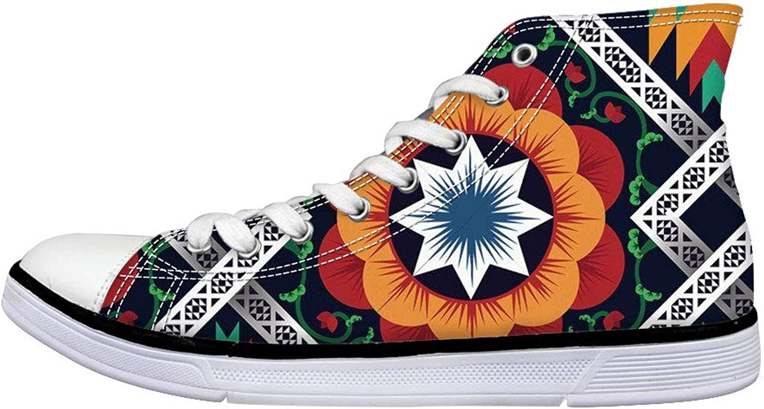 Showudesigns Casual Canvas shoes High Top Sneaker Ankle Boots for Women Outdoor Travel