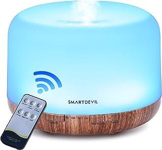 SmartDevil Humidificador Ultrasónico 500ml, Difusor de Aromaterapia, purificador de aire con LED de 14 colores de para luminoterapia en el Hogar, Control Remoto, Temporizador Hogar,Oficina, Spa, Bebé