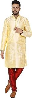 SKAVIJ Men's Kurta Pajama Set Art Silk Indian Traditional Party Wear Dress Beige M