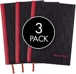 Black n' Red Casebound Hardcover Notebooks, Large, Black, 96 Ruled Sheets, Pack of 3 (73601)