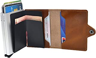 Leather Business Double Layer Credit Card Holder RFID Blocking Pop-up Wallet Money