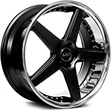 Azad AZ008 Custom Wheel - Semi Gloss Black with Chrome SS Lip Rims - 22