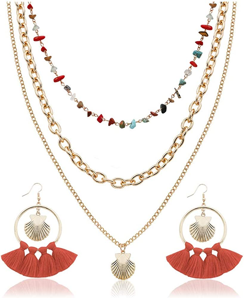 UDORA Hoop Tassel Earrings Statement Necklace Jewelry Set Party Holiday Beach Christmas Earring Set