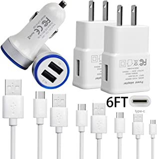 4 in 1 Cell Phone Charger Bundle Fast USB Car Charger+Home Wall Adapter+2x6FT Type C Cable for Samsung Galaxy S10e S10 S9 S8 Plus Active Note 8 9 LG V35 G7 ThinQ Fit Stylo 4 V20 V30S G5 G6 G8 TECHOST