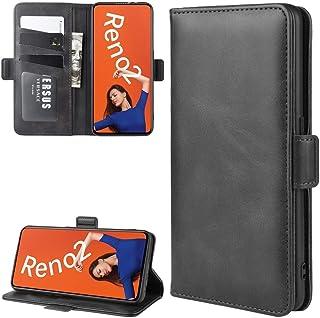 ハードケース カードウォレットブラケット機能を持つOPPO Reno2ダブルバックルクレイジーホースビジネス携帯電話ホルスターのために (色 : Black)