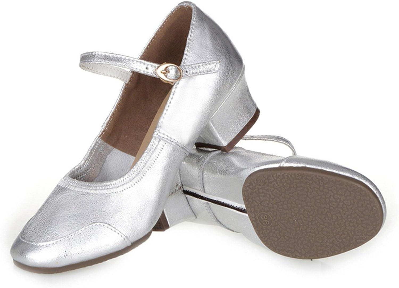 WXMDDN Female Dance shoes Silver shoes Four Seasons shoes Adult Soft Soles Dancing shoes