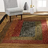 Home Dynamix Vega Modern Area Rug, Geometric Black/Brown/Red 5'2'X7'2'