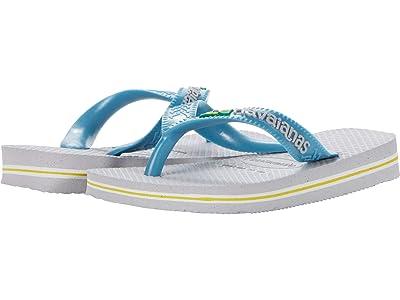 Havaianas Kids Brazil Logo Flip Flops (Toddler/Little Kid/Big Kid) (Ice Grey) Boys Shoes