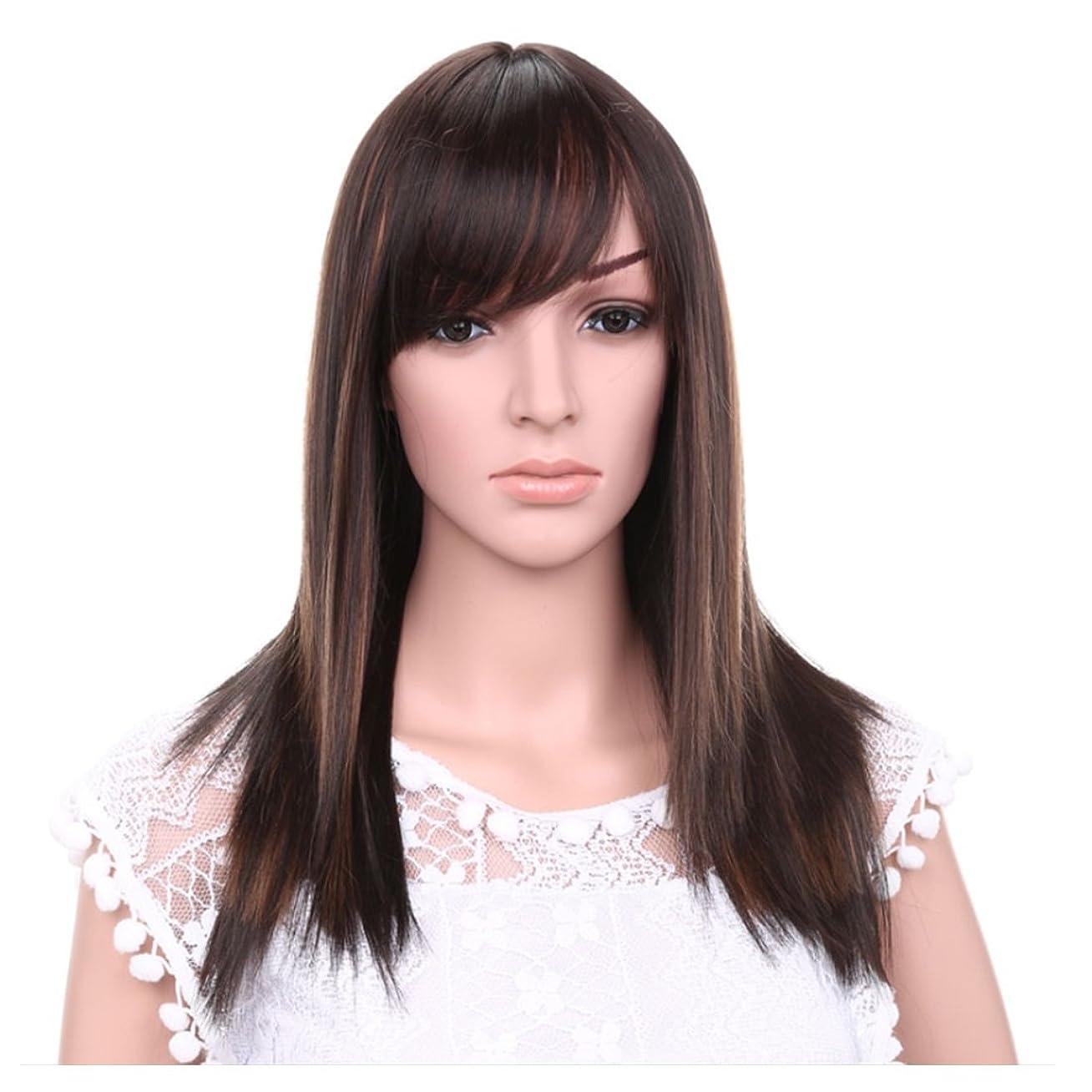 行商四半期抑制JIANFU 女性のための21inchロングストレートウィッグ髪の自然な色茶色の黒のかつらの斜め強打女性のための髪の耐熱性 (Color : Brownish black highlight)