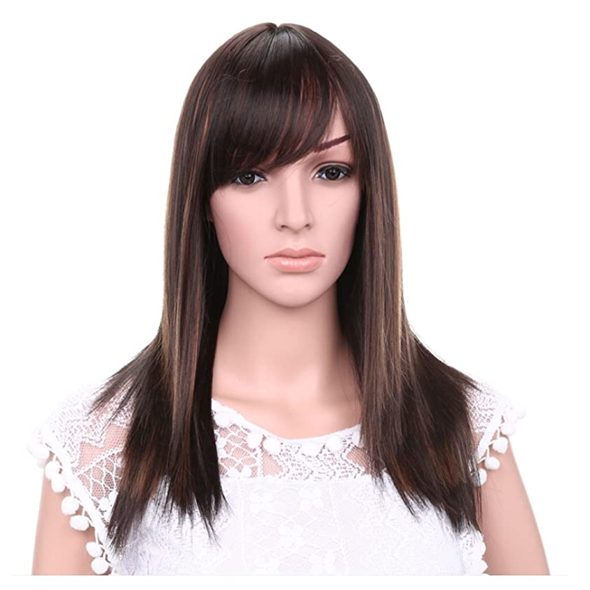 見る知覚的捧げるDoyvanntgo 女性のための21inchロングストレートウィッグ髪の自然な色茶色の黒のかつらの斜め強打女性のための髪の耐熱性 (Color : Brownish black highlight)