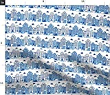 Stadt, Blau, Weiß, Delft, Amsterdam, Haus Stoffe -