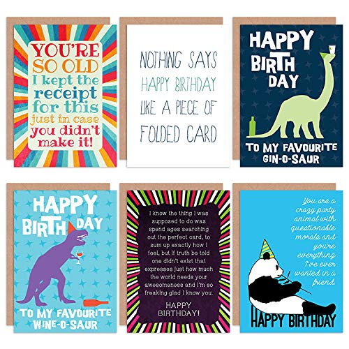 Wee Blue Coo Funny Happy Birthday Friends BFF Wine Gin O Saur All Occasions Various Assorted Blank Greeting Cards with Envelopes Pack of 6 Marrant Heureux du vin