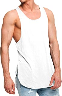 4c5a4eed0b7c9 OA ONRUSH AESTHETICS Men s Fashion Super Longline Vest Step Hem Extreme  Racer Back Tank Tops