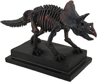 Zeckos Antique Bronze Finish Mounted Triceratops Skeleton Statue