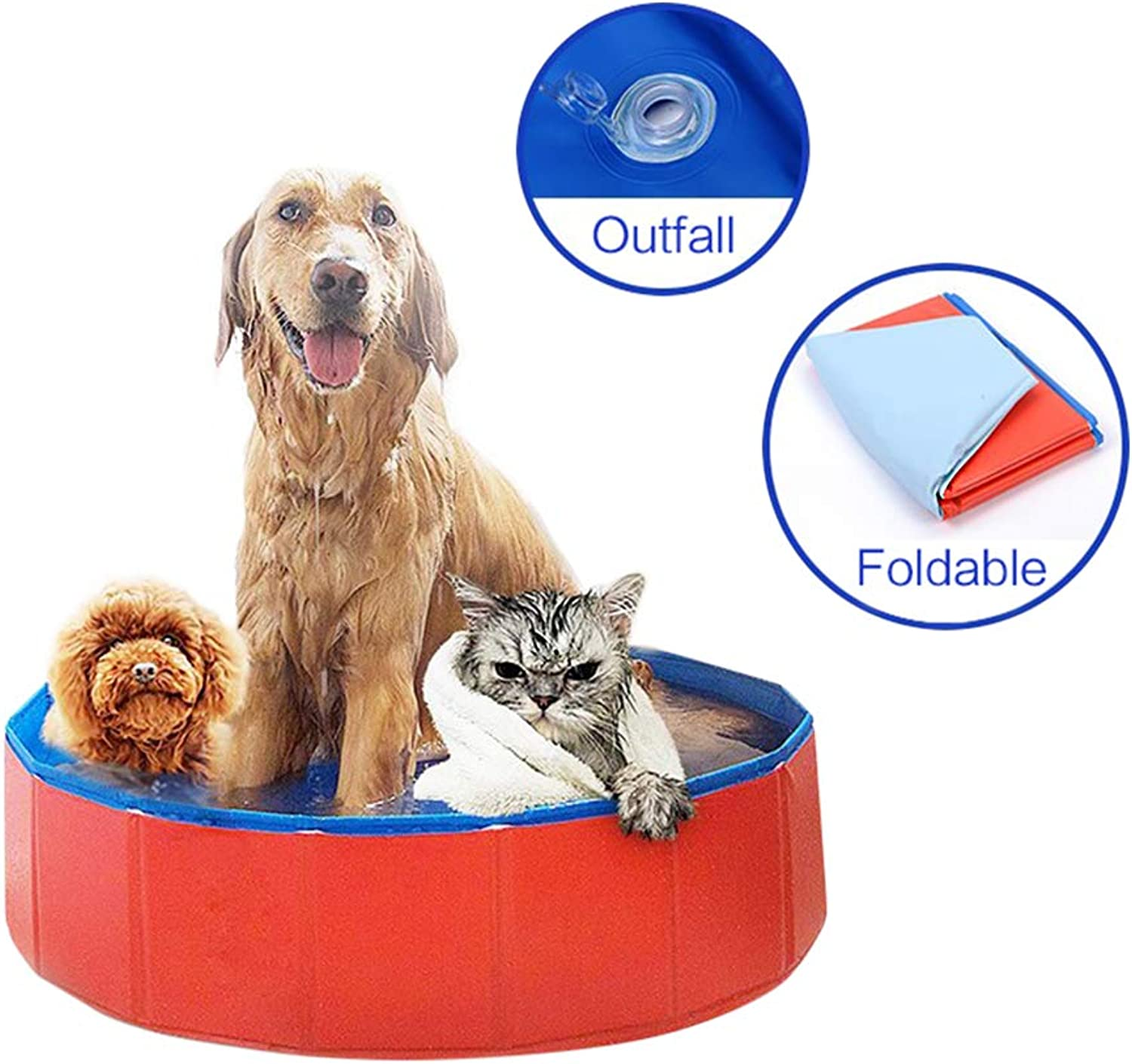 Alice Young Foldable Dog Paddling Pool Cats Puppy Swimming Bathing Tub Pet Kids Summer Water Indoor Outdoor Ponds 120×30CM
