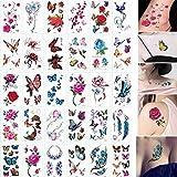 30 fogli 3D Farfalla Tatuaggi temporanei Body Art Sticker Lettere di fiori Cartone animato Cane Tatuaggi falsi Tatuaggio infinito per bambini da donna-Tatuaggio Di Fiore