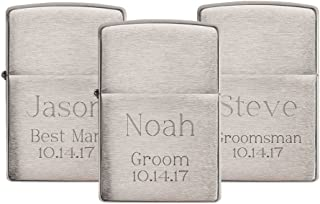 Personalized Set of 3 Brushed Chrome Zippo Lighters with Free Engraving