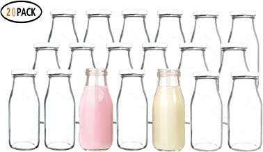 QAPPDA 12 oz Glass Bottles, Glass Milk Bottles with Lids, Vintage Breakfast Shake Container, Vintage Drinking Bottles with Chalkboard Labels and Pen for Party,Kids,Set of 20