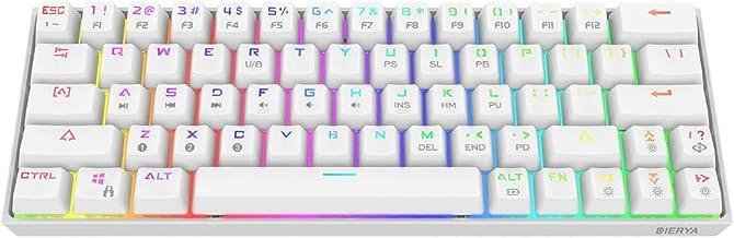 DIERYA 60% Mechanical Gaming Keyboard - White Bluetooth 4.0 Wired/Wireless True RGB Backlit Compact 63 Key Computer Keyboard - Full Keys Programmable - Cherry MX Black Equivalent Switch (DK-63-W)