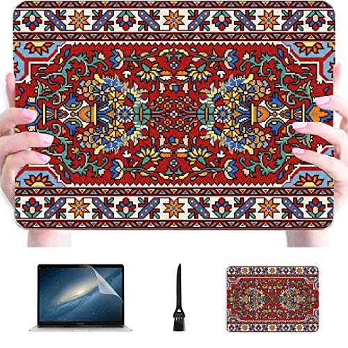 Macbook 2018 Case Colorful Mosaic Oriental Rug Traditional Folk Plastic Hard Shell Compatible Mac Mac Air Cover Protection Accessories For Macbook With Mouse Pad