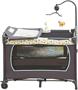 ALBB Portable Folding Travel Cot crib  multi-function Bassinet and Changing Top  Folding Mattress and Wheels  Side Opening  newborn game bed
