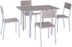 HOMCOM 5 Piece Expanding Drop Leaf Dining Table and Chairs Set- Light Grey/White