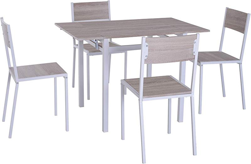 HOMCOM 5 Piece Expanding Drop Leaf Dining Table And Chairs Set Light Grey White