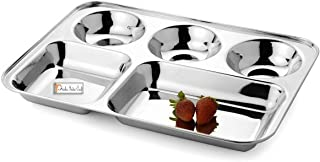 Prisha India Craft Stainless Steel 5-in-1 Compartment Divided Plate, Dosa Serving Plate | Length 14.00 Inch