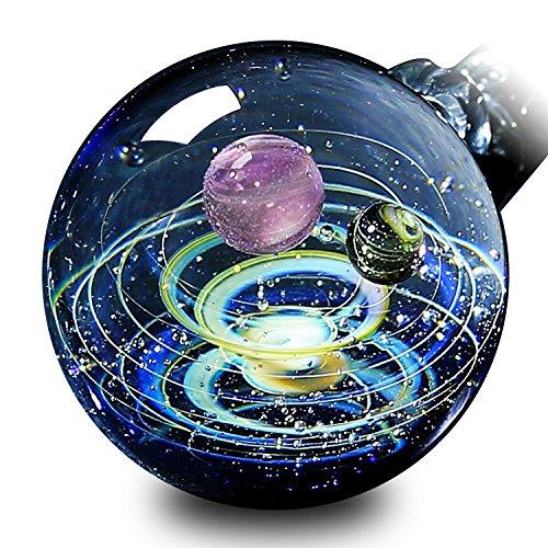 Pavaruni Original Galaxy Pendant Necklace, Universe Glass, Space Cosmos Design,Birthday Art Japan Handmade Craftsman (Vesta)