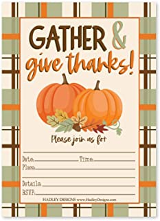 Hadley Designs 25 Fall Thanksgiving Kids Party Invitations, Pumpkin Plaid Give Thanks Lets Celebrate Friendsgiving Rustic Cornucopia Turkey Day Dinner Lunch Invite, Harvest Holiday, Printable Template