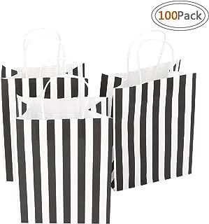 Road 8x4.75x10.5 Inches 100pcs Black Stripes Kraft Paper Bags, Retail bag, Merchandise Bag, Gift Bag, Inches 50pcs Black Stripes Kraft Paper Bags, Retail bag, Merchandise Bag, Gift Bag, Party Bag