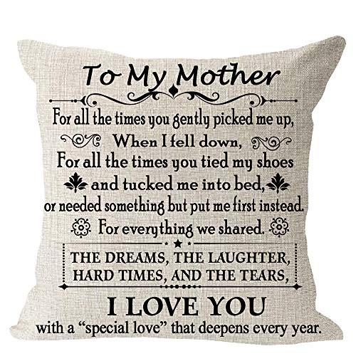 """Blessing to My Mom We Share Dreams Laughter Hard Time Tear I Love You Cotton Linen Square Throw Waist Pillow Case Decorative Cushion Cover Pillowcase Sofa 18""""x 18"""""""