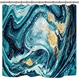 JOOCAR Design Duschvorhang, Ozeanblaue Wirbel, Marmor-Riffelungen, abstrakter Blaugrün, Achat, natürlich, luxuriös, Goldkunstdruck, wasserdichter Stoff, Badezimmer-Dekor-Set mit Haken